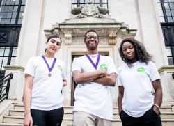 From left to right, deputy young mayor, young mayor and the member for the youth parliament