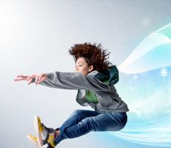 Girl jumping forward