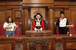 Mayor, young mayor and deputy young mayor in council chambers
