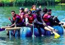 Boys on a raft