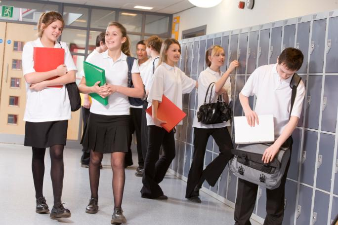 Young people in a school corridor