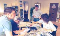Running a lino printing workshop at the Memory Generation event
