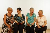 Older people laughing and smiling