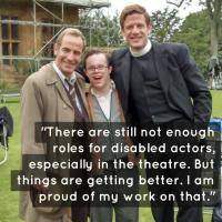 One of our actors, Sam, on set with Robson Green and James Norton whilst shooting for Grantchester