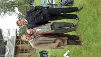 One of our actors, Sam, on set with Robson Green and James Norton whilst shooting Grantchester