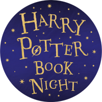 The words Harry Potter Book Night within a purple circle.