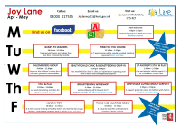 Joy Lane Timetable Apr - May 2019