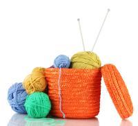 Knitting wool in basket