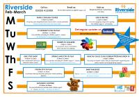 Riverside Timetable Feb - Mar 2020
