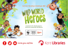 Five cartoon characters positioned around the edges of the image with the words 'Wild World Heroes' in the centre of the image.