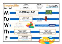 Swalecliffe Timetable Jun - Jul 2019
