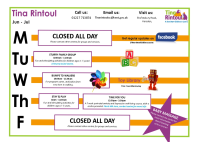 Tina Rintoul Timetable Jun - Jul 2019