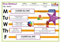 Tina Rintoul Timetable Feb - Mar 2020