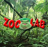 A frog in a forest with the words zoolab