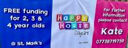 Happy house Daycare logo, tells of free funding for 2, 3 and 4 year old's.