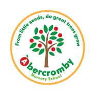 Abercromby Nursery School logo is an apple tree with ripe red apples
