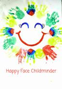 Childminders logo, smiling face surrounded by colourful painted palm prints
