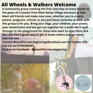 Information poster with families walking together. Some families are wheelchair users, some are walking pets