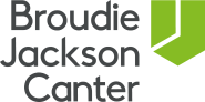 The name Broudie Jackson Canter in a black font to the left of a bright green abstract shield.
