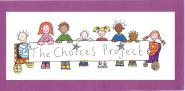 Choices Project Logo. It shows lots of children in cartoon format holding up a sign which says The Choices Project on it.
