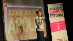 Image of young comedian performing at the Liverpool Comedy Festival
