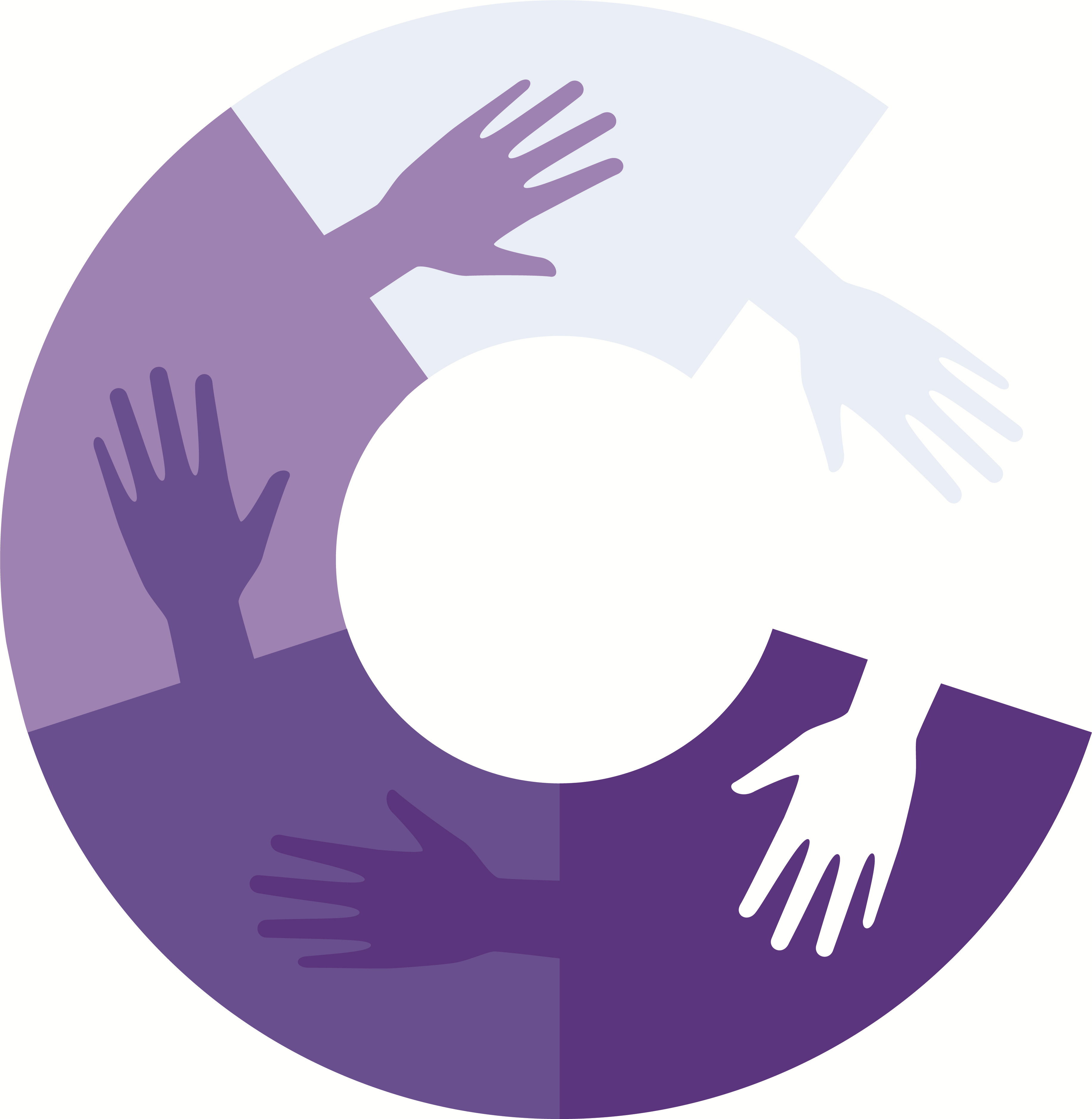 co-production logo - purple hands linked in circle