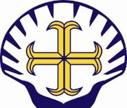 Emmaus CE & RC Primary School logo - Purple shell with a yellow cross inside