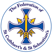 School Logo, blue cross with 3 yellow arrows interspersed through it.