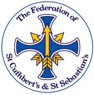 School Logo, blue cross with 3 yellow arrows interspersed through it.