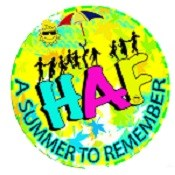 Yellow circle with words - HAF, a summer to remember