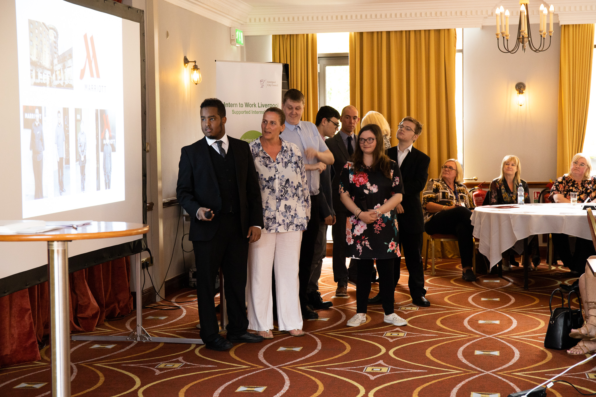 Adam, a supported intern from Sandfield Park School based at Marriott Hotel, describing his experience with help from his job coach Lynn.