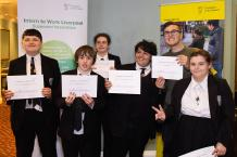Pupils from Gateacre School with their independent travel training certificates.
