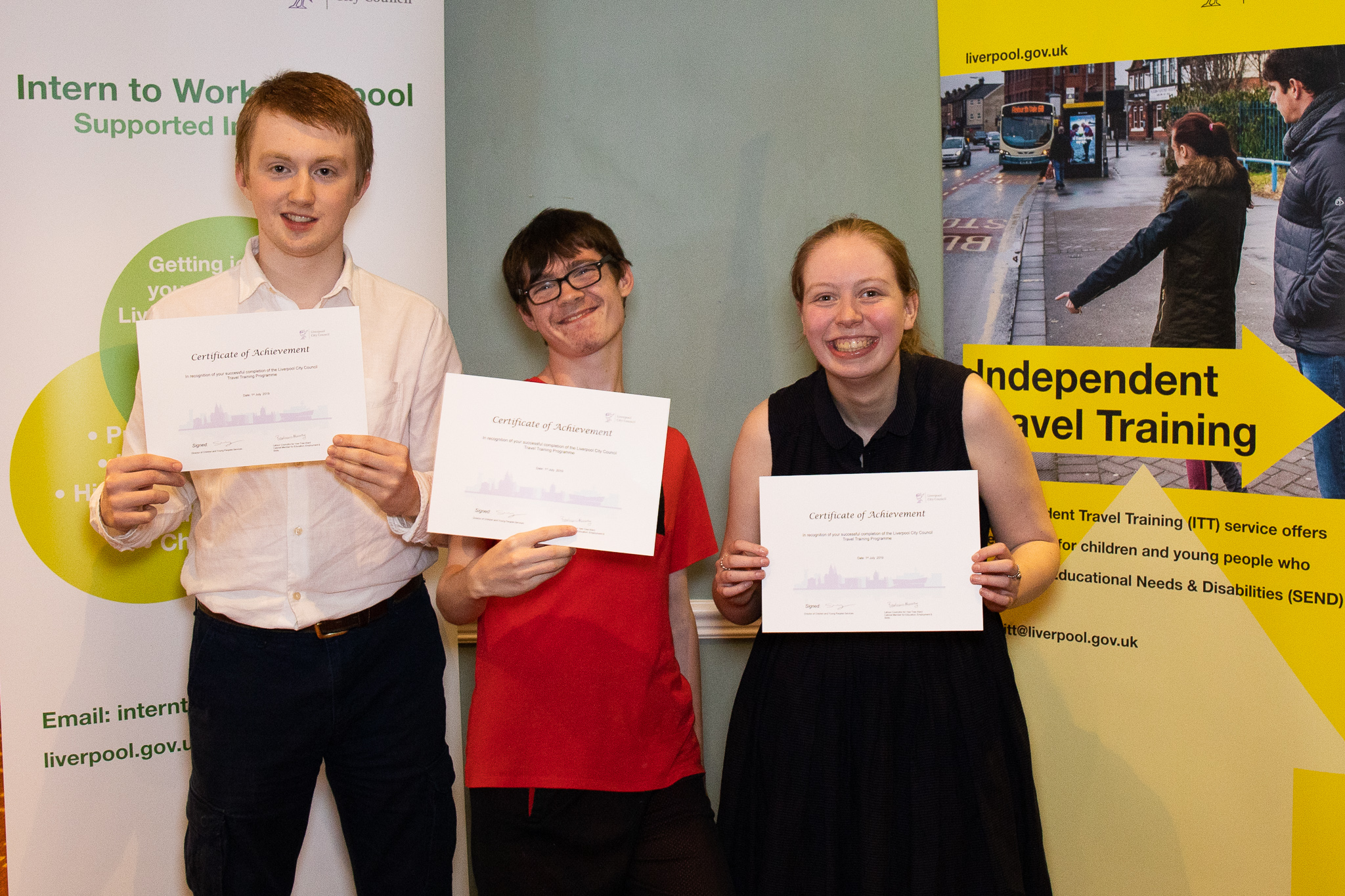 Pupils from Abbot's Lea School with their independent travel training certificates.