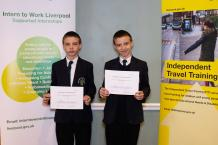 Pupils from the Academy of St Francis of Assisi with their independent travel training certificates.