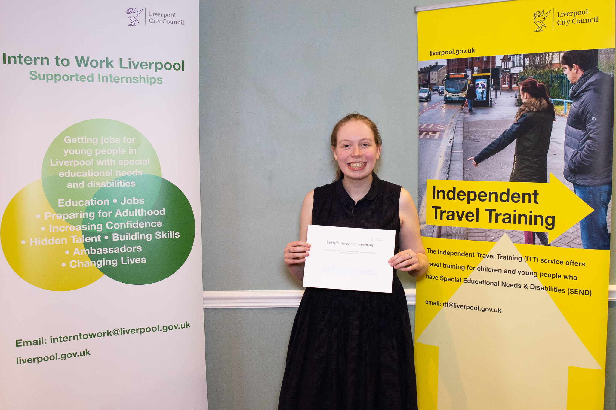 Saoirse from Abbot's Lea School with her independent travel training certificate.