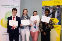Pupils from Bankview high School with their independent travel training certificates.