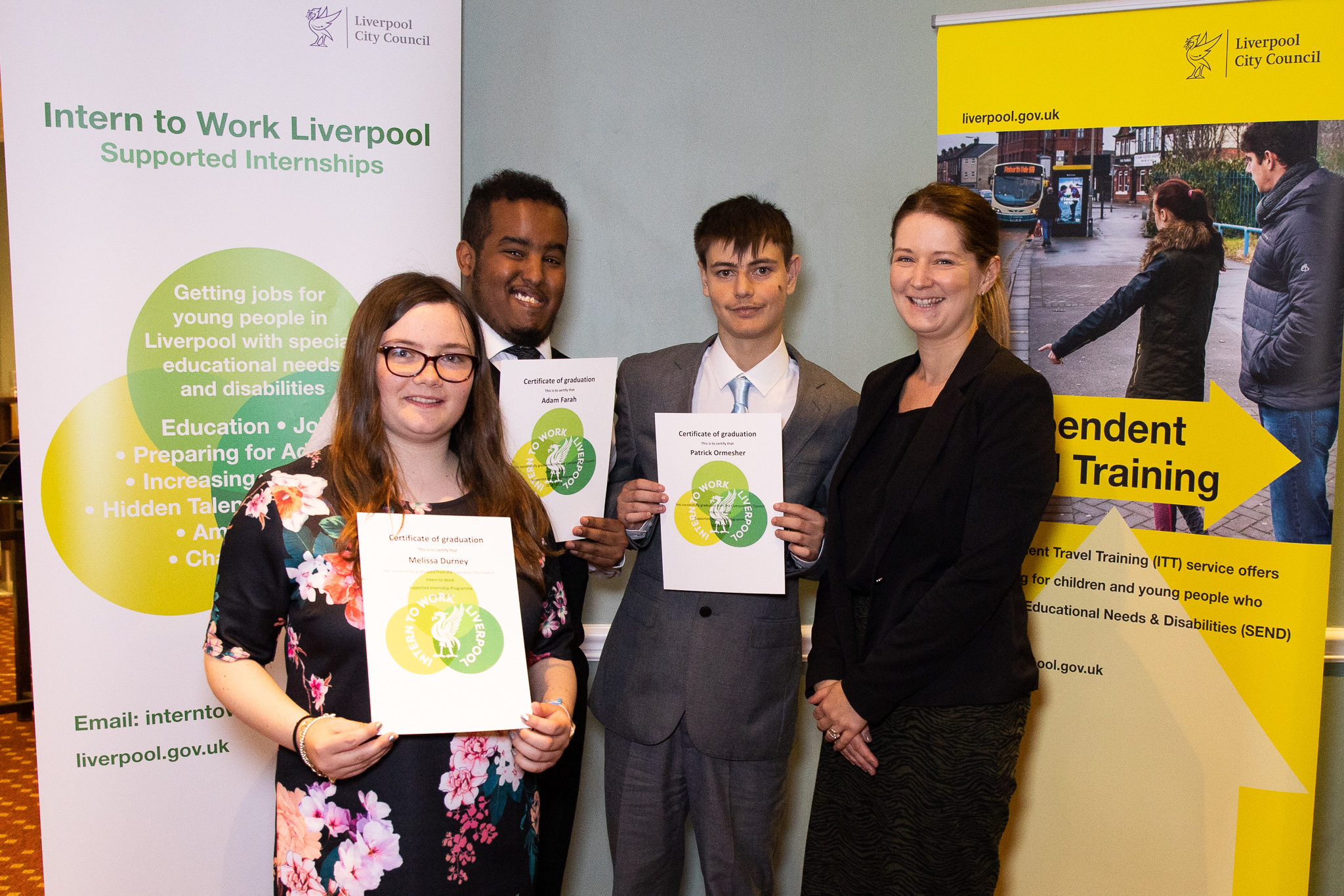 Melissa, Adam and Patrick, supported interns with their graduation certificates, with Becky Cooper, HR Manager from the Marriott Hotel.