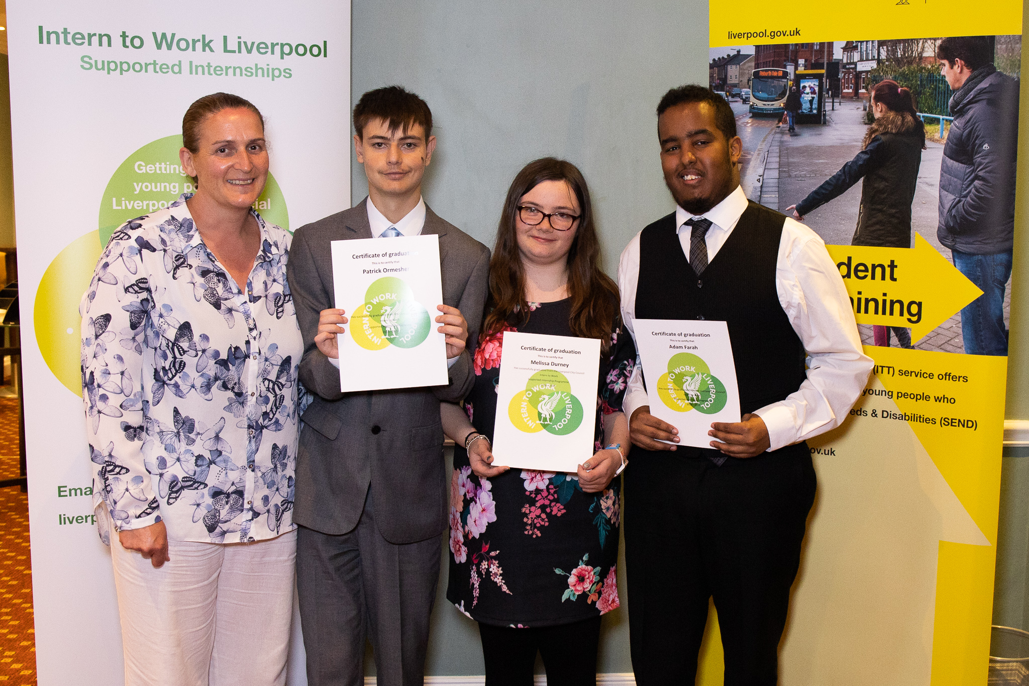 Melissa, Adam and Patrick, supported interns with their graduation certificates, with Lynne Brown, Job coach from Sandfield Park School.