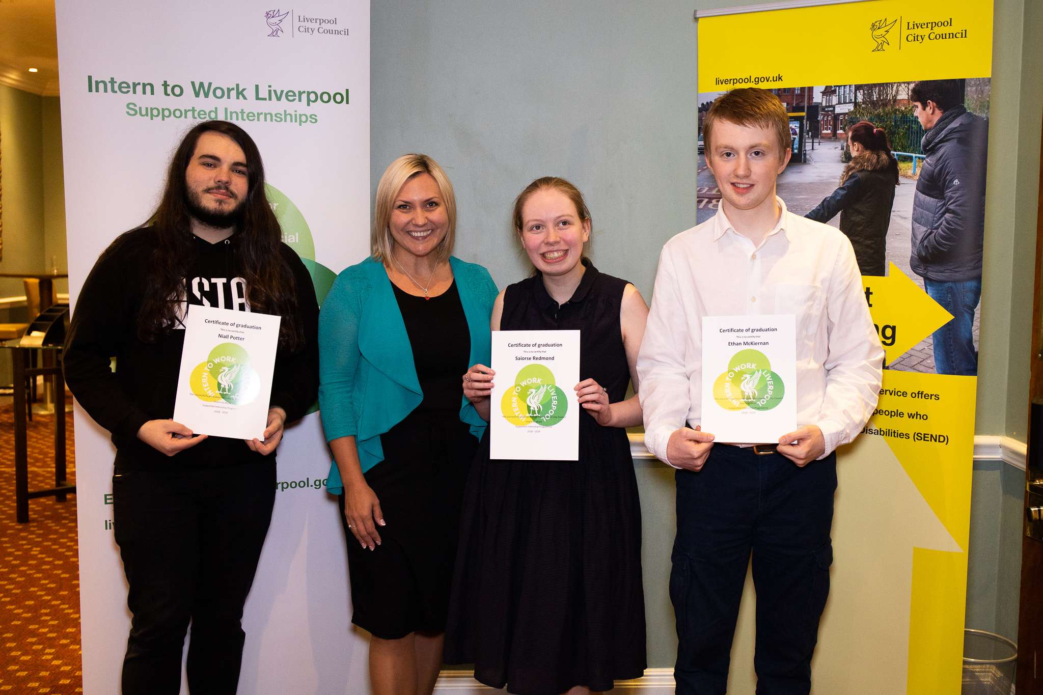 Niall, Saoirse and Ethan, supported interns from Abbot's Lea School based at Amey PLC with their graduation certificates and their head teacher Ania Hildrey.