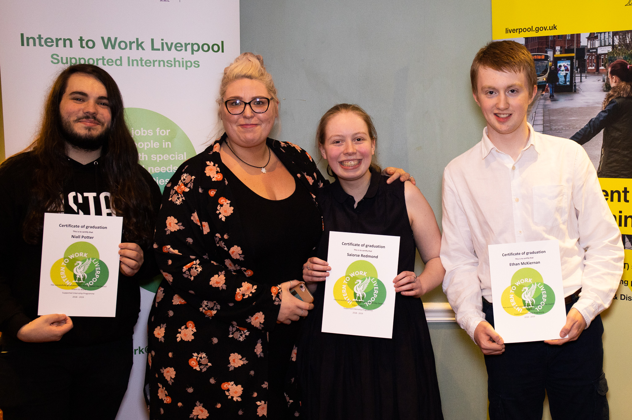 Niall, Saoirse and Ethan, supported interns from Abbot's Lea School based at Amey PLC with their graduation certificates and their job coach Claire Caddick.