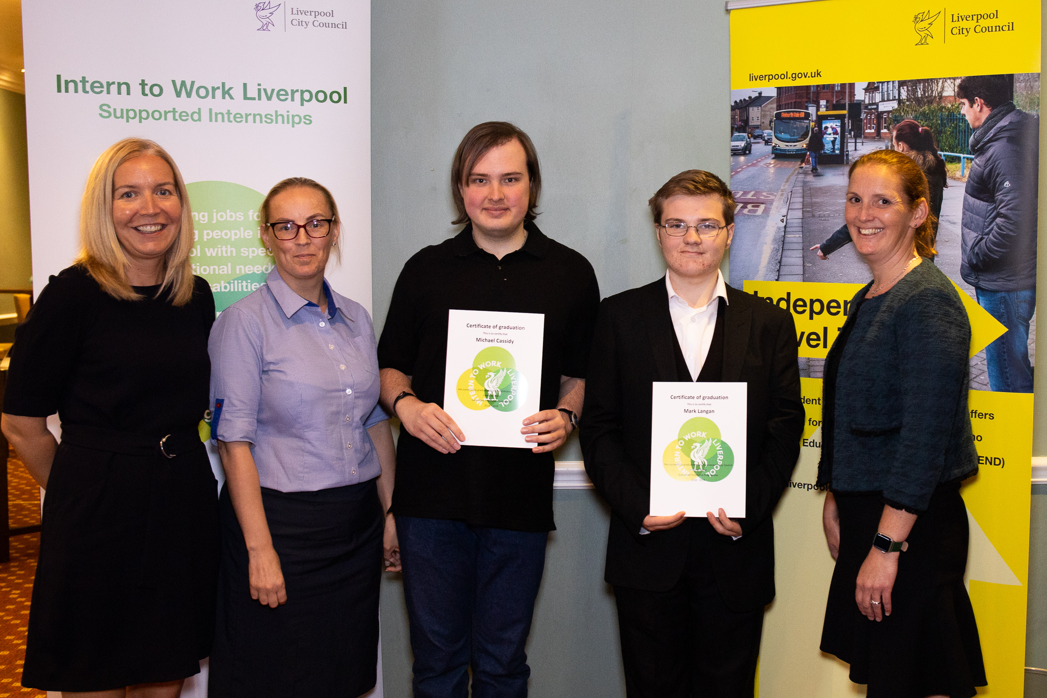Michael and Mark, supported interns from Bankview High School based at Holiday Inn Express Hotel with their graduation certificates. Accompanied by their Head Teacher, Juliette Gelling, Helen Roberts and Mary Dunleavy from Holiday Inn Express Hotel.