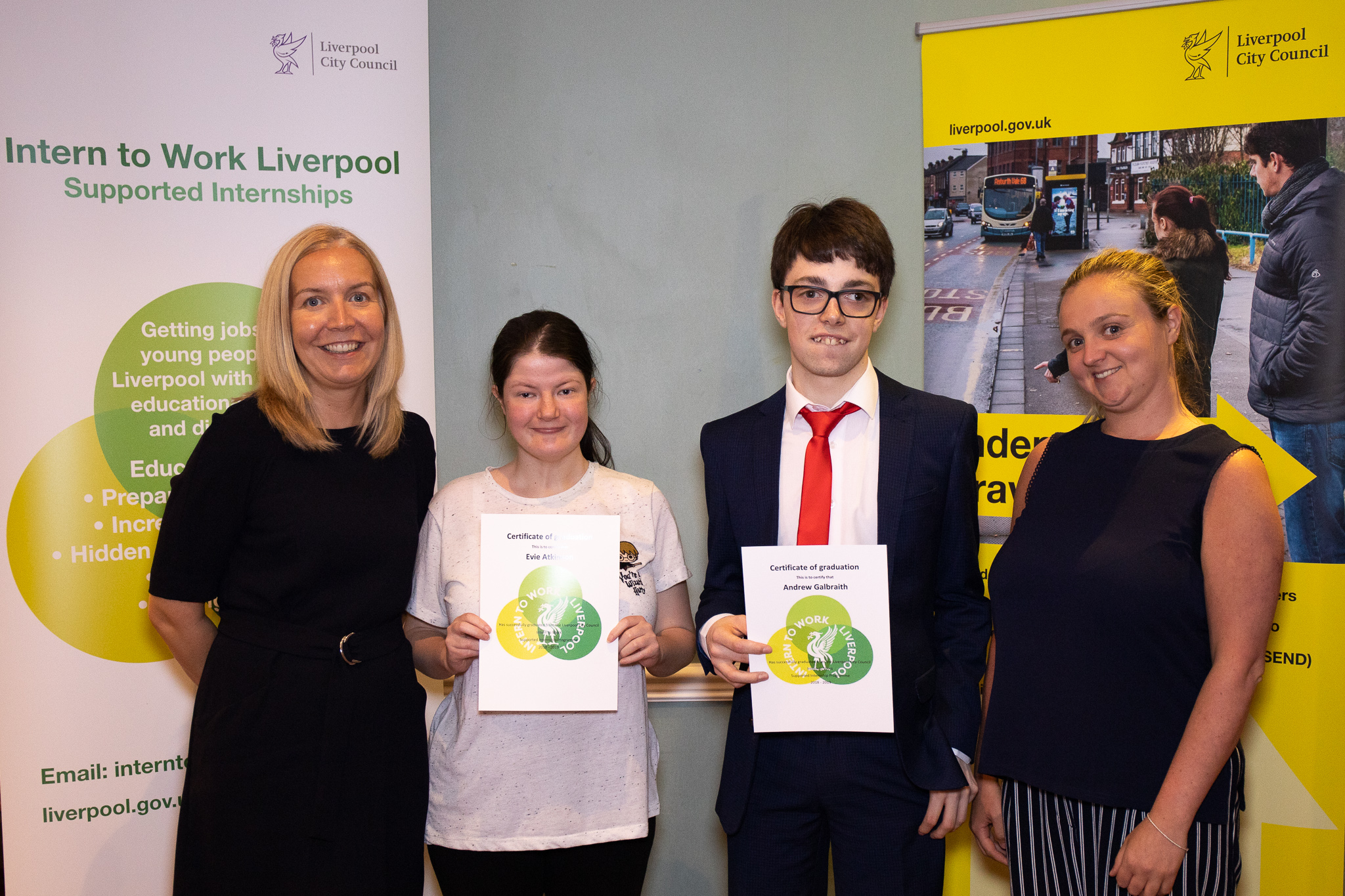 Evie and Andrew, supported interns from Bankview High School based at Hilton Hotel, with their head teacher Juliette Gelling and job coach Maria Hughes.