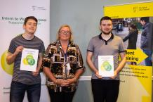 George and Thomas, supported interns from Greenbank College based at Liverpool City Council, with Carol See from the Short Breaks Service.