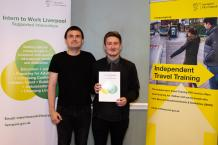 Andrew, a supported intern from Greenbank College based at a local football club, with his job coach Ben Dunster.