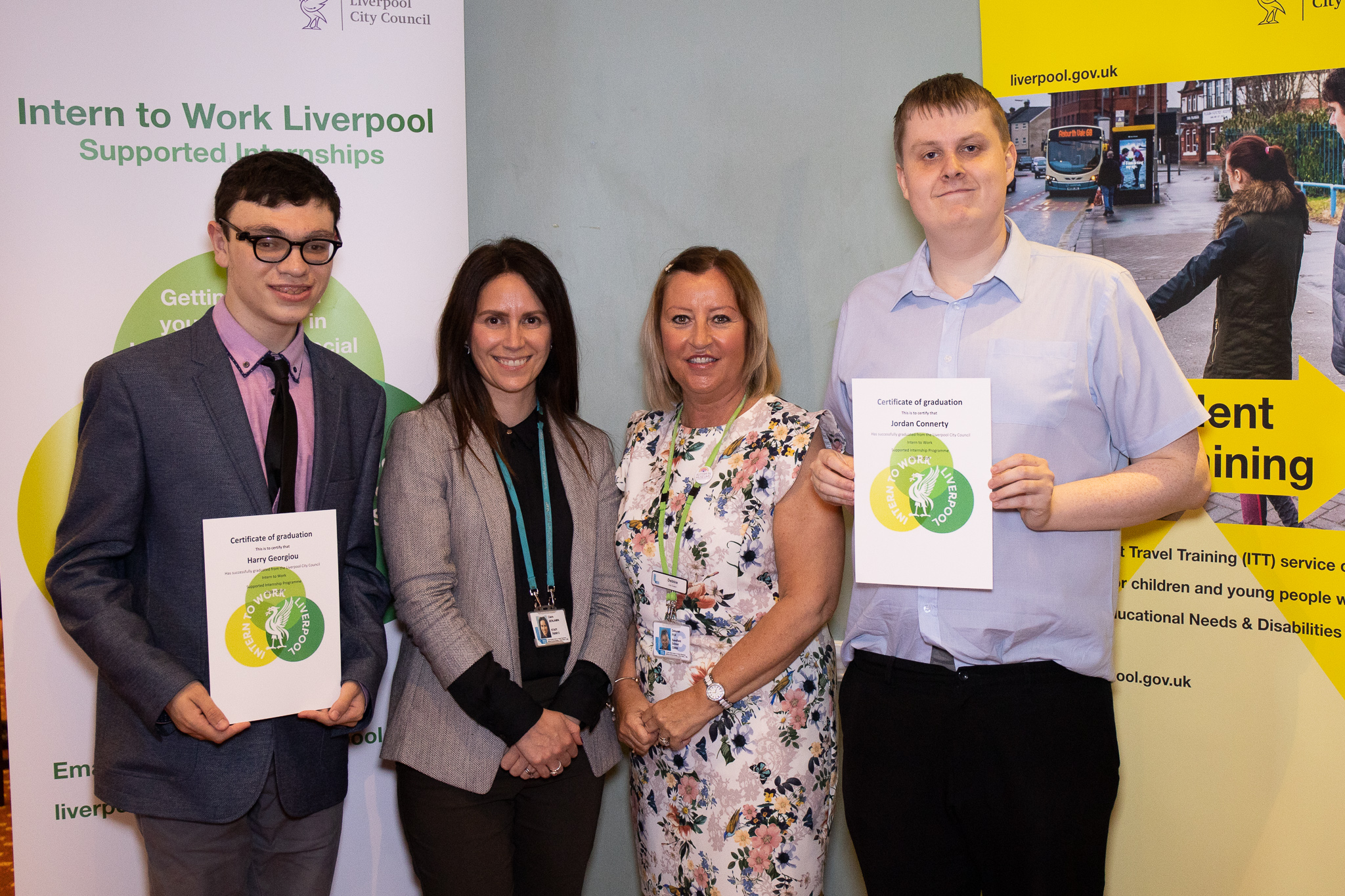 Harry and Jordan, supported interns from Sandfield Park School and Greenbank College based at National Museums Liverpool. With Claire Benjamin from National Museums Liverpool and Debbie Fox their job coach.
