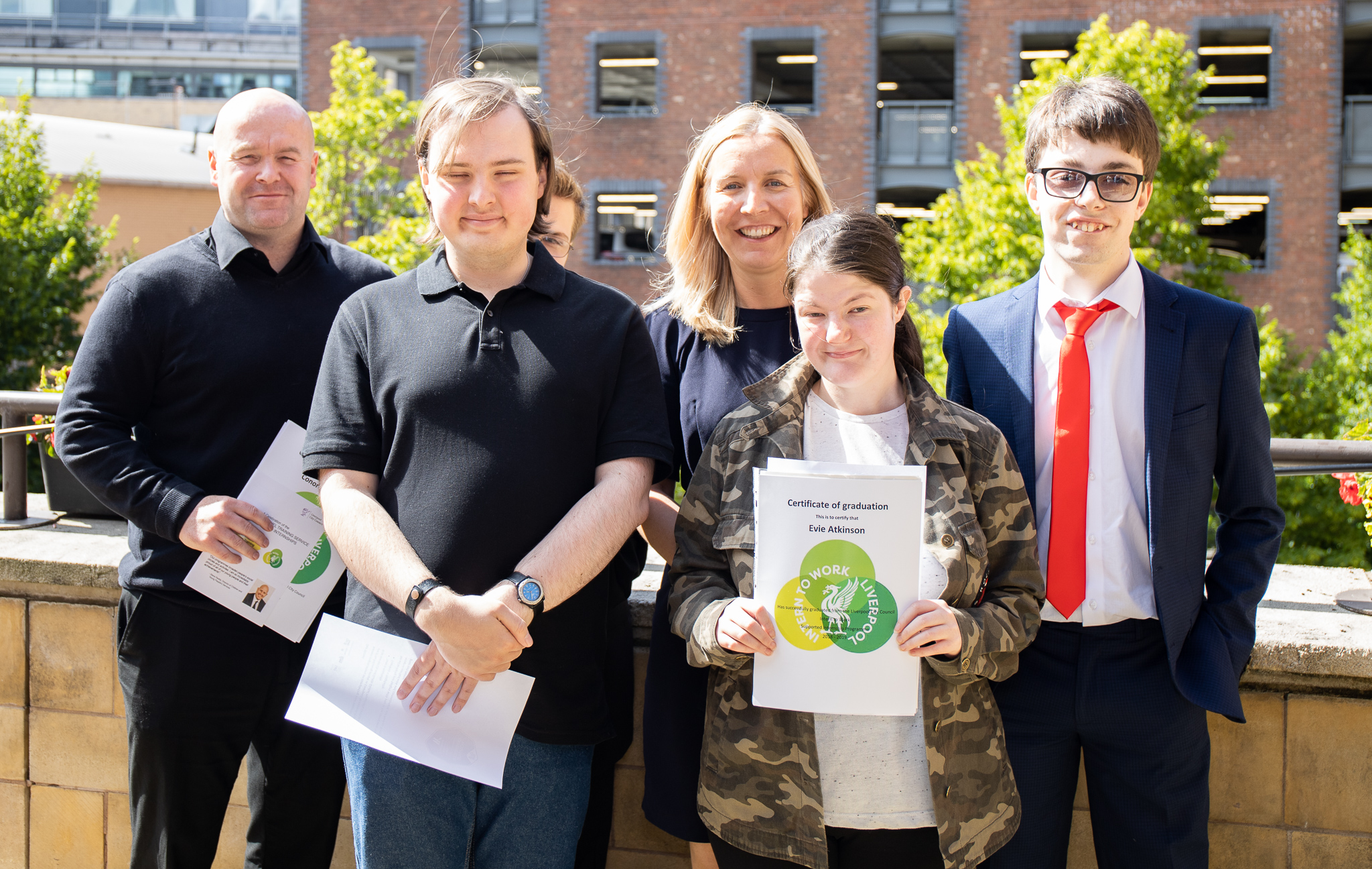 Michael, Mark, Evie and Andrew, supported interns from Bankview high School with their head teacher, Juliette Gelling and their head of sixth form Gareth Davey.
