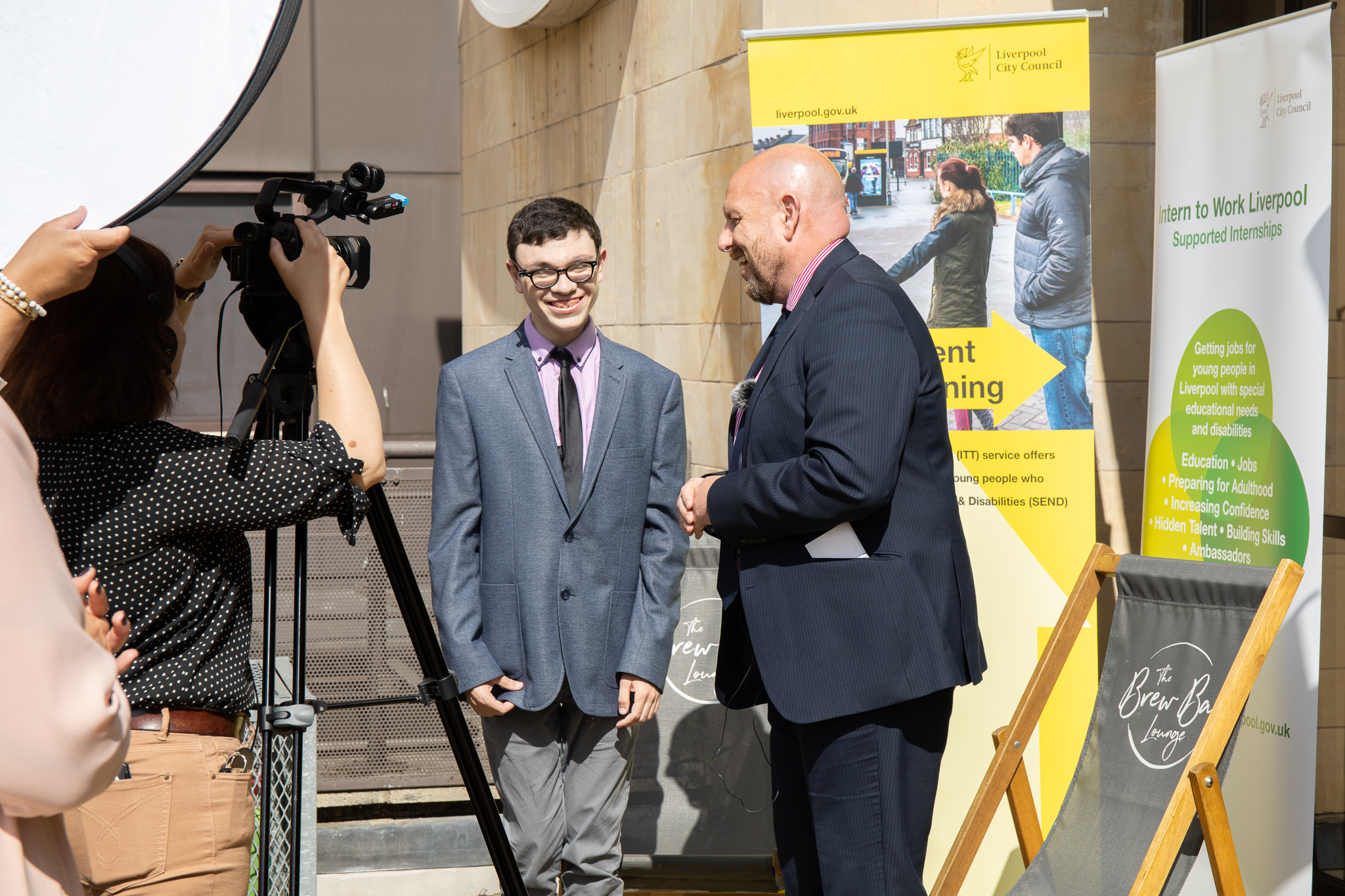 Harry, supported intern from Sandfield Park School based at National Museums Liverpool interviewing Steve Reddy, Director of Children and Young People's Services, Liverpool City Council.