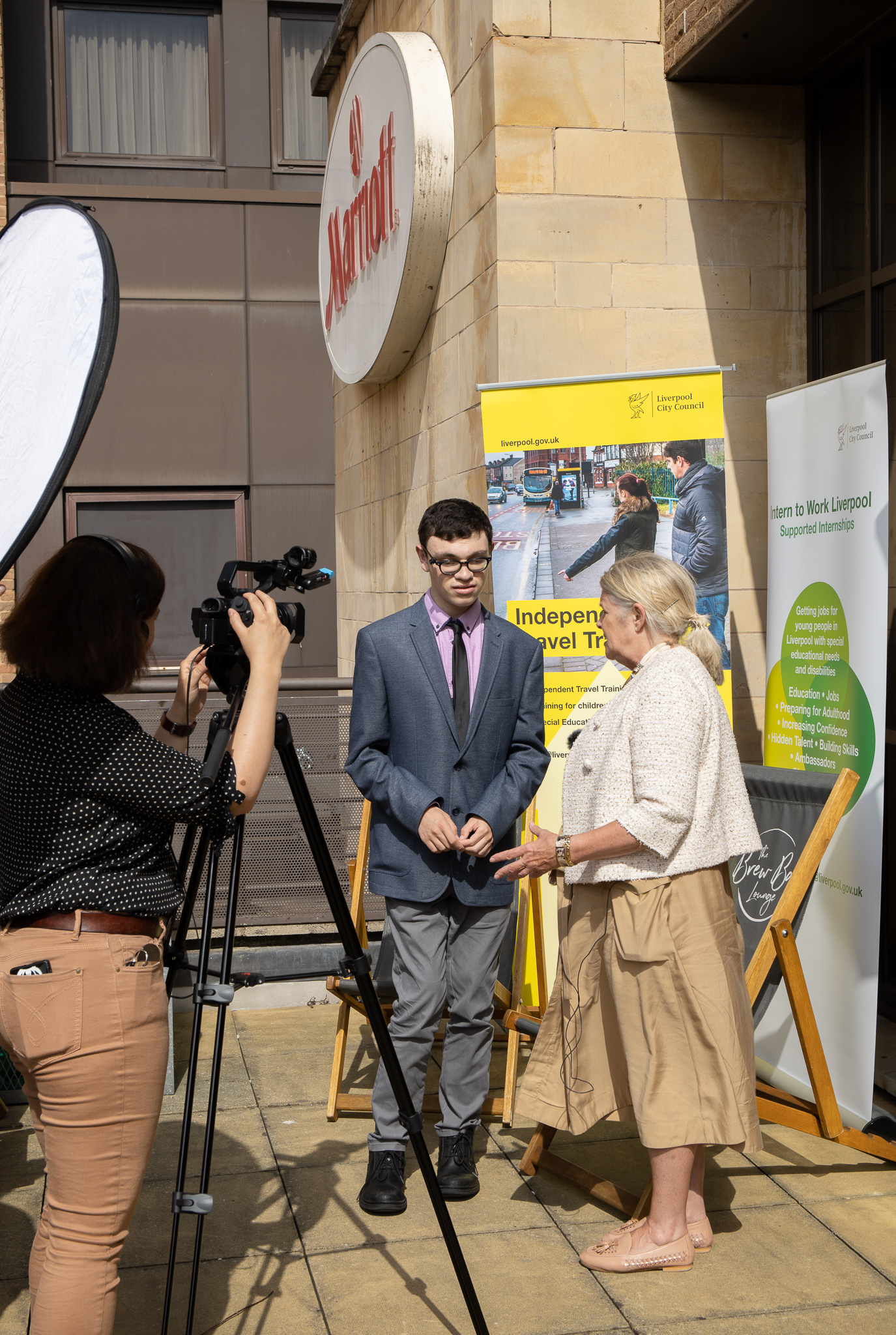 Harry interviewing Barbara Murray, Cabinet Member for Education, Employment and Skills.