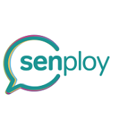 Logo of Senploy, blue writing with a speech bubble around the sen