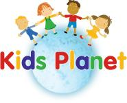 Kids Planet Logo. Kids holding hands around a globe